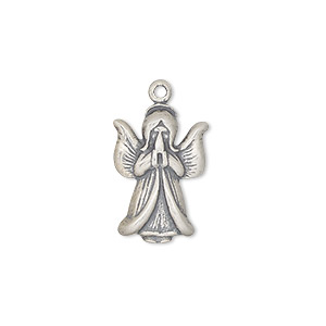 charm, antiqued sterling silver, 18x12.5mm praying angel. sold individually.