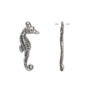 charm, antiqued sterling silver, 22x9mm seahorse. sold per pkg of 2.