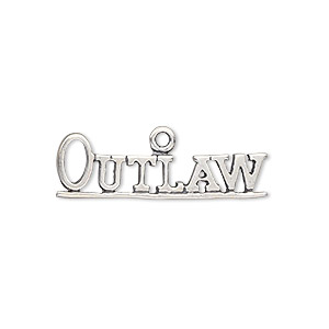 charm, antiqued sterling silver, 28.5x10mm outlaw. sold individually.