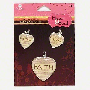 charm, blue moon beads, silver-finished pewter (zinc-based alloy) / resin / steel, clear / cream / brown, (2) 18x18mm and (1) 29x28mm heart with faith and line design, sold per pkg of 3 charms.