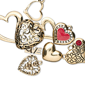 charm, enamel / crystal / gold-plated pewter (tin-based alloy), multicolored, 14x10mm-34x26mm assorted heart. sold per 10-piece set.