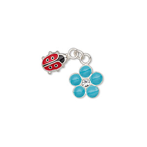 charm, enamel / glass rhinestone / sterling silver, multicolored, 7x5.5mm single-sided ladybug and 8.5x8.5mm single-sided flower. sold individually.