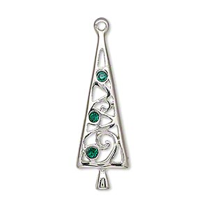 charm, enamel / swarovski crystals / silver-plated pewter (zinc-based alloy), green, 34x11mm single-sided christmas tree. sold individually.