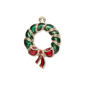 charm, enamel and gold-finished pewter (zinc-based alloy), green and red, 24x18mm left- and right-facing single-sided christmas wreath. sold per pkg of 2.