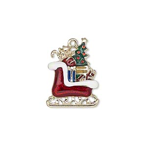 charm, enamel and gold-finished pewter (zinc-based alloy), multicolored, 21x16mm single-sided sleigh with presents. sold individually.