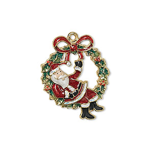 charm, enamel and gold-finished pewter (zinc-based alloy), multicolored, 25x20mm single-sided santa claus sitting on wreath with bow. sold individually.