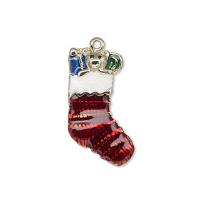 charm, enamel and gold-finished pewter (zinc-based alloy), multicolored, 25x16mm single-sided stocking with bear and presents. sold individually.