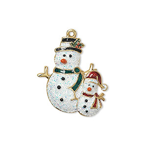 charm, enamel and gold-finished pewter (zinc-based alloy), multicolored with glitter, 23x21.5mm single-sided two snowmen. sold individually.