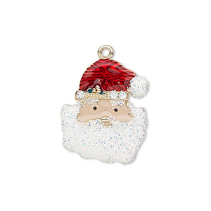 charm, enamel and gold-finished pewter (zinc-based alloy), multicolored with glitter, 22x18mm single-sided santa claus head. sold individually.