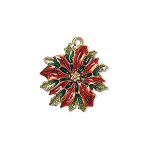 charm, enamel and gold-finished pewter (zinc-based alloy), red and green, 20.5x20.5mm single-sided poinsettia. sold individually.