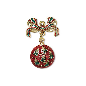 charm, enamel and gold-finished pewter (zinc-based alloy), red and green, 27x17mm single-sided movable ornament with bow. sold individually.
