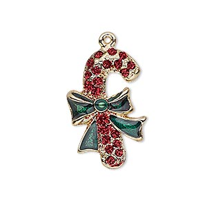 charm, enamel and gold-finished pewter (zinc-based alloy), red and green with glitter, 26x17mm single-sided candy cane. sold individually.