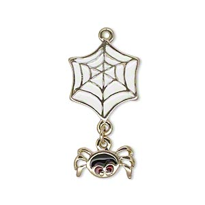 charm, enamel and gold-finished pewter (zinc-based alloy), white / black / red, 30x16mm single-sided spider and web. sold individually.