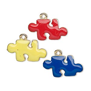 charm, enamel and gold-plated pewter (tin-based alloy), blue / yellow / red, 20x11mm single-sided puzzle piece. sold per 3-piece set.