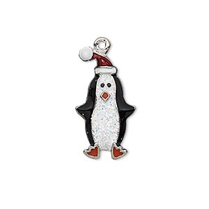 charm, enamel and imitation rhodium-plated pewter (zinc-based alloy), black / white / red with glitter, 24x13mm single-sided penguin with hat. sold individually.