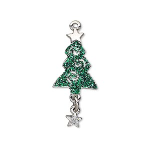 charm, enamel and imitation rhodium-plated pewter (zinc-based alloy), green and silver with glitter, 30x13mm single-sided christmas tree with star dangle. sold individually.