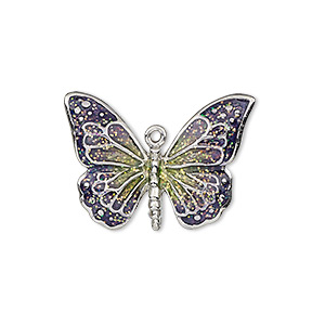charm, enamel and imitation rhodium-plated pewter (zinc-based alloy), purple and green with glitter, 26x19mm single-sided butterfly. sold individually.