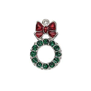 charm, enamel and imitation rhodium-plated pewter (zinc-based alloy), red and green with glitter, 23x15mm single-sided wreath. sold individually.
