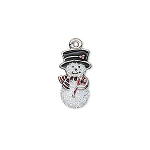 charm, enamel and imitation rhodium-plated pewter (zinc-based alloy), white / black / red with glitter, 18x9mm single-sided snowman. sold individually.