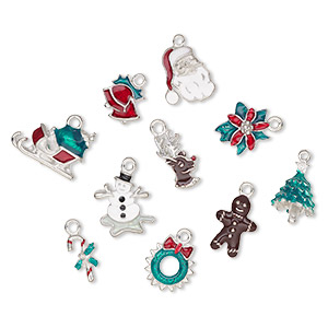 charm, enamel and pewter (tin-based alloy), multicolored,18x8mm-20x16mm christmas theme. sold per 10-piece set.
