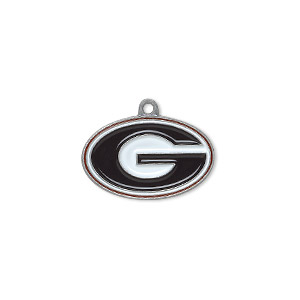 charm, enamel and pewter (zinc-based alloy), black / white / red, 21x13mm single-sided university of georgia bulldogs. sold individually.