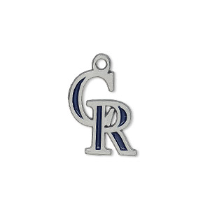 charm, enamel and pewter (zinc-based alloy), dark blue, 18x15mm single-sided mlb™ colorado rockies. sold per pkg of 2.