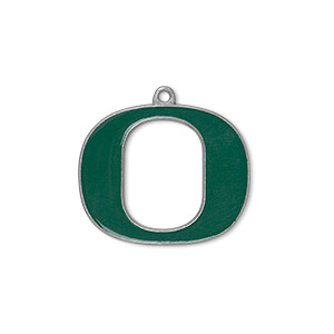 charm, enamel and pewter (zinc-based alloy), green, 23x19mm single-sided university of oregon ducks. sold per pkg of 2.