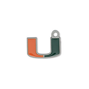 charm, enamel and pewter (zinc-based alloy), orange and green, 17x10mm single-sided miami hurricanes. sold individually.