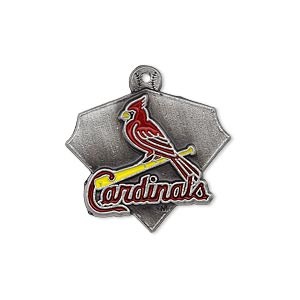 charm, enamel and pewter (zinc-based alloy), red / black / yellow, 23x21mm single-sided mlb™ st. louis cardinals. sold individually.