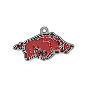 charm, enamel and pewter (zinc-based alloy), red and black, 31x14mm single-sided right-facing arkansas razorbacks. sold individually.
