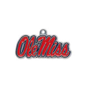 charm, enamel and pewter (zinc-based alloy), red and blue, 29x12.5mm single-sided university of mississippi ole miss. sold individually.