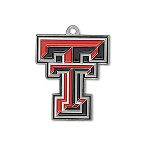 charm, enamel and pewter (zinc-based alloy), white / red / black, 26x23mm single-sided texas tech red raiders. sold individually.