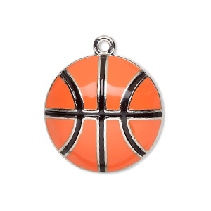 charm, enamel and silver-finished pewter (zinc-based alloy), orange and black, 25mm single-sided domed basketball. sold individually.