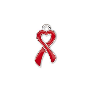 charm, enamel and silver-finished pewter (zinc-based alloy), red, 18x10.5mm single-sided awareness ribbon heart. sold per pkg of 2.