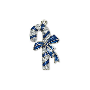 charm, enamel and silver-plated pewter (zinc-based alloy), blue and silver, 23x14mm single-sided candy cane with bow. sold individually.