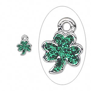 charm, enamel and silver-plated pewter (zinc-based alloy), green with glitter, 8x7mm single-sided 3-leaf clover. sold per pkg of 6.