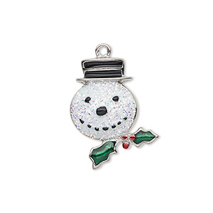 charm, enamel and silver-plated pewter (zinc-based alloy), multicolored with glitter, 23x18mm single-sided snowman head with hat and holly leaves with berries. sold individually.