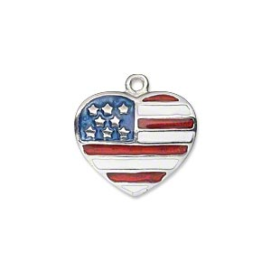 charm, enamel and silver-plated pewter (zinc-based alloy), red / white / blue, 20x17mm single-sided heart with usa flag design. sold individually.