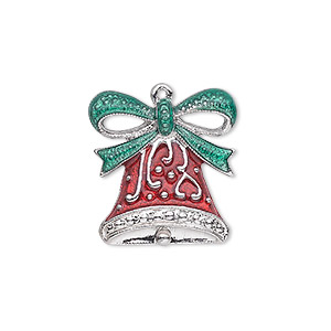 charm, enamel and silver-plated pewter (zinc-based alloy), red and green, 20.5x19.5mm single-sided bell with fancy bow. sold individually.
