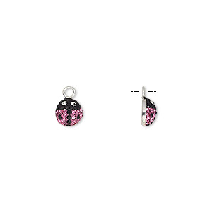 charm, epoxy / glass / sterling silver, pink / black / clear, 6x6mm single-sided ladybug. sold individually.