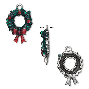charm, epoxy and pewter (tin-based alloy), green and red, 20x13mm wreath. sold per pkg of 2.