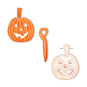 charm, epoxy and pewter (tin-based alloy), orange and white, 18x14mm pumpkin. sold per pkg of 2.