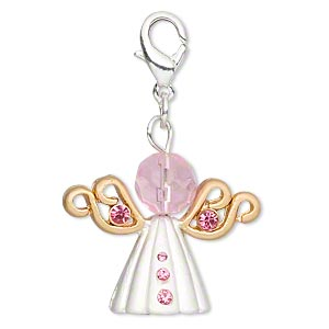 charm, glass / glass rhinestone / silver- / gold-finished pewter (tin-based alloy), pink, 26x21mm angel with lobster claw clasp. sold per pkg of 2.