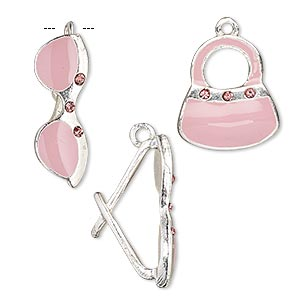 charm, glass rhinestone / enamel / silver-finished pewter (zinc-based alloy), pink and rose, 17x15mm purse and 22x8mm sunglasses. sold per pkg of (2) 2-piece sets.