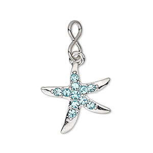 charm, glass rhinestone with imitation rhodium-plated brass and pewter (zinc-based alloy), aqua blue, 20.5x20mm single-sided starfish. sold individually.