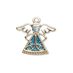 charm, gold-finished pewter (zinc-based alloy) / swarovski crystal rhinestone / enamel, aquamarine and light blue, 24x19mm single-sided angel. sold individually.