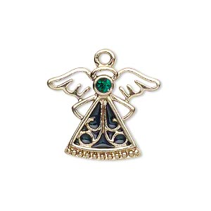 charm, gold-finished pewter (zinc-based alloy) / swarovski crystal rhinestone / enamel, emerald and dark green, 24x19mm single-sided angel. sold individually.