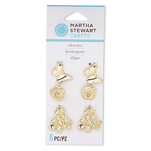 charm, gold-finished pewter (zinc-based alloy), 10x10mm rose enamel blank with hidden loop / 16x11mm butterfly enamel blank / 19x17mm flower enamel blank. sold per pkg of 6.