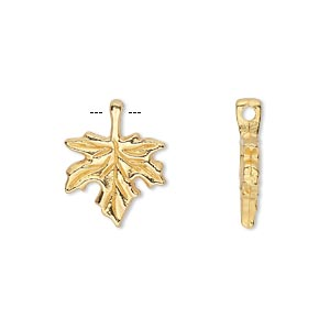 charm, gold-finished pewter (zinc-based alloy), 13x13mm single-sided leaf. sold per pkg of 20.