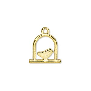charm, gold-finished pewter (zinc-based alloy), 15x14mm double-sided bird on swing. sold per pkg of 20.